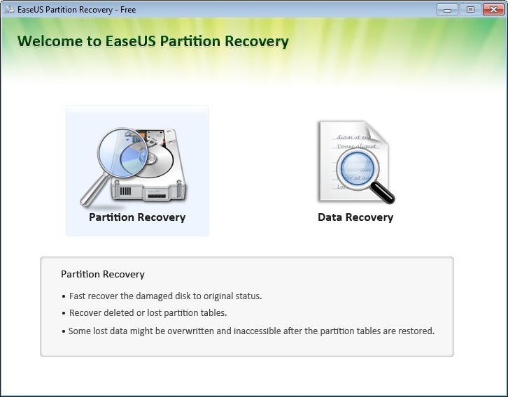 Screenshot 1 - EaseUS Partition Recovery