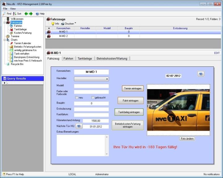 Screenshot 1 - KFZ-Management