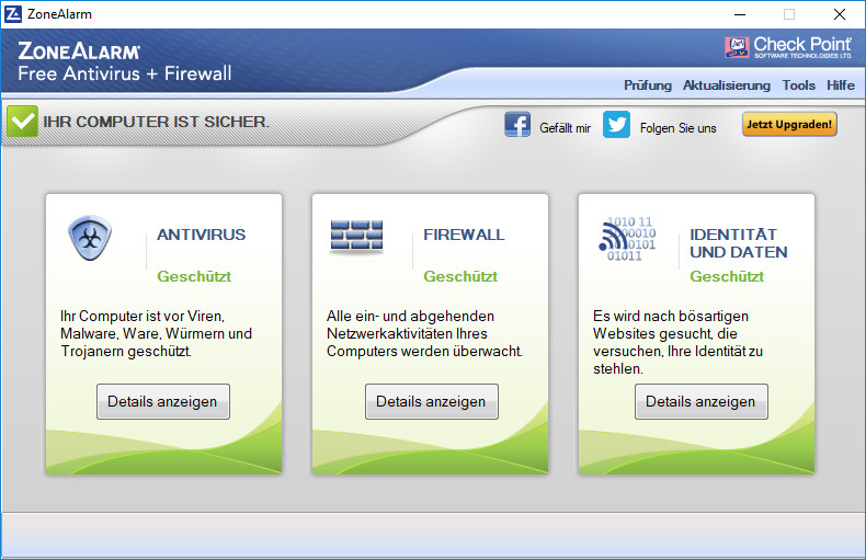 Screenshot 1 - ZoneAlarm Free Antivirus + Firewall
