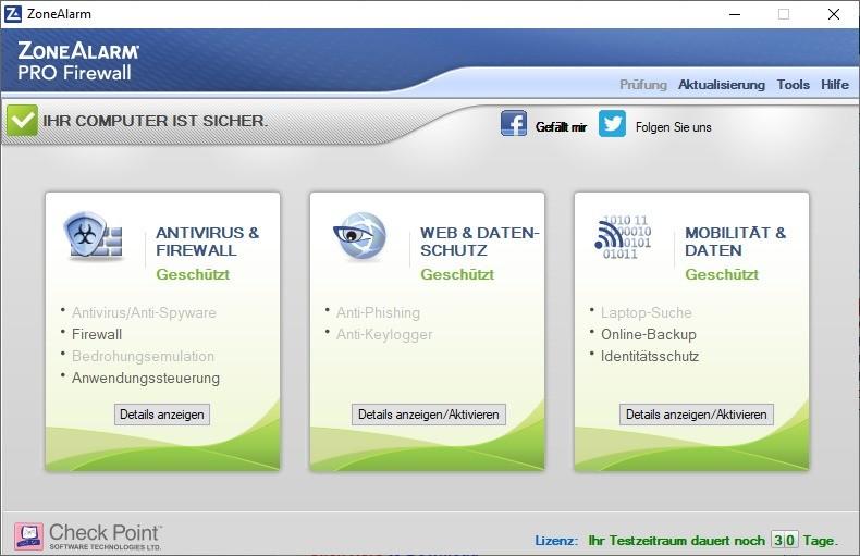 Screenshot 1 - ZoneAlarm Pro Firewall