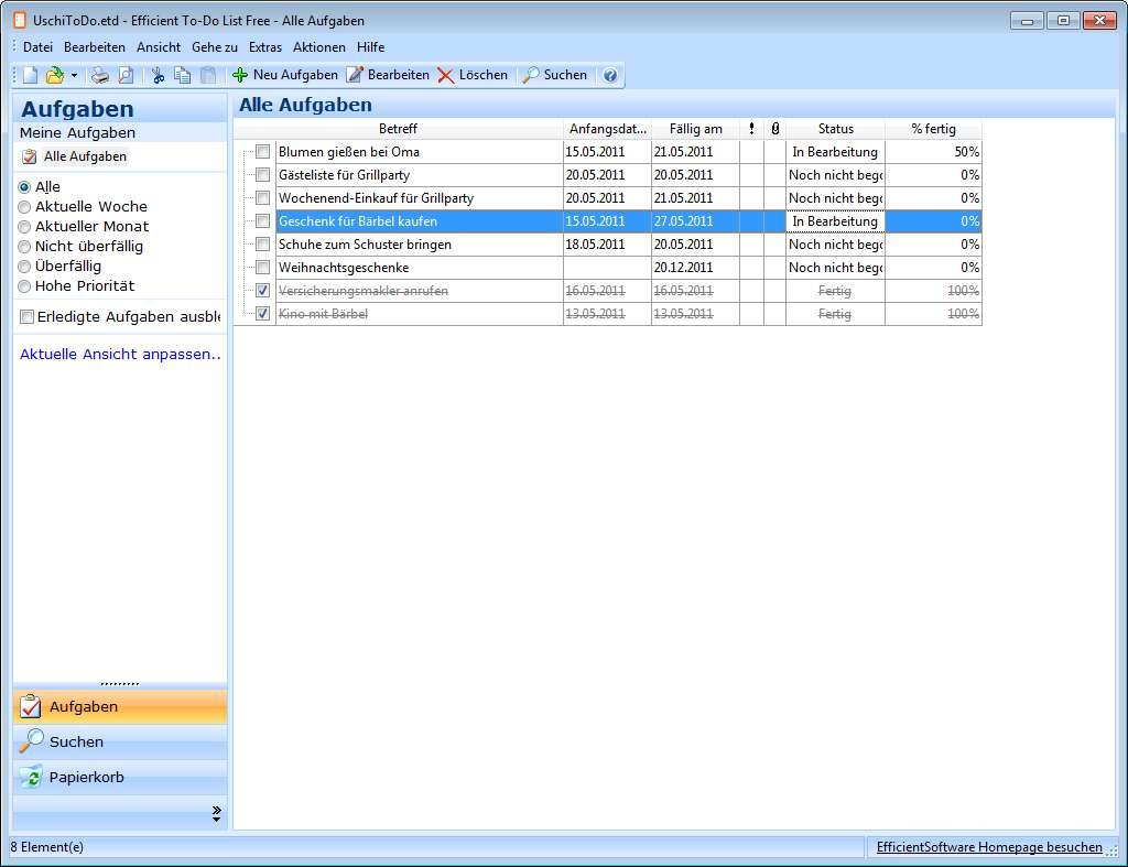 Screenshot 1 - Efficient To-Do List Free Portable