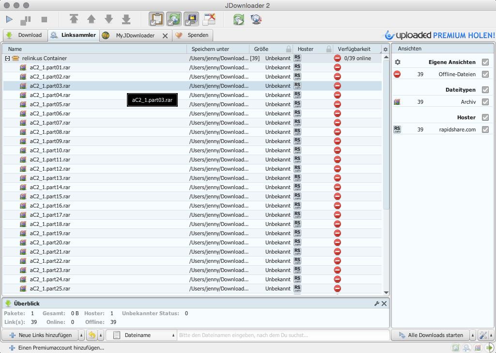 Screenshot 1 - jDownloader 2 (Mac)