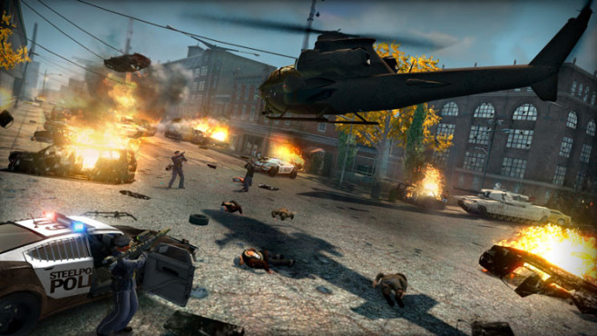 Actionspiel Saints Row – The Third: Heli ©THQ