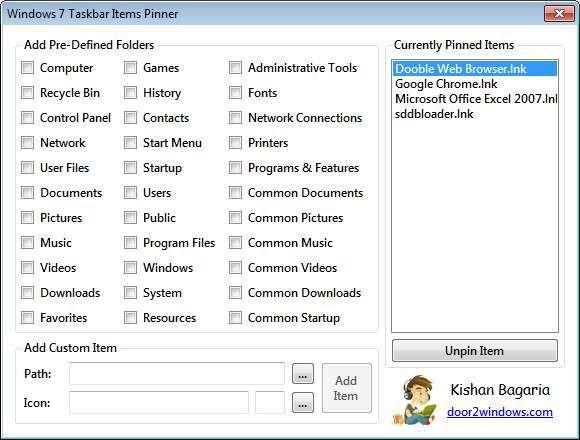Screenshot 1 - Windows 7 Taskbar Items Pinner