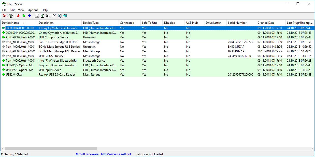 Screenshot 1 - USBDeview