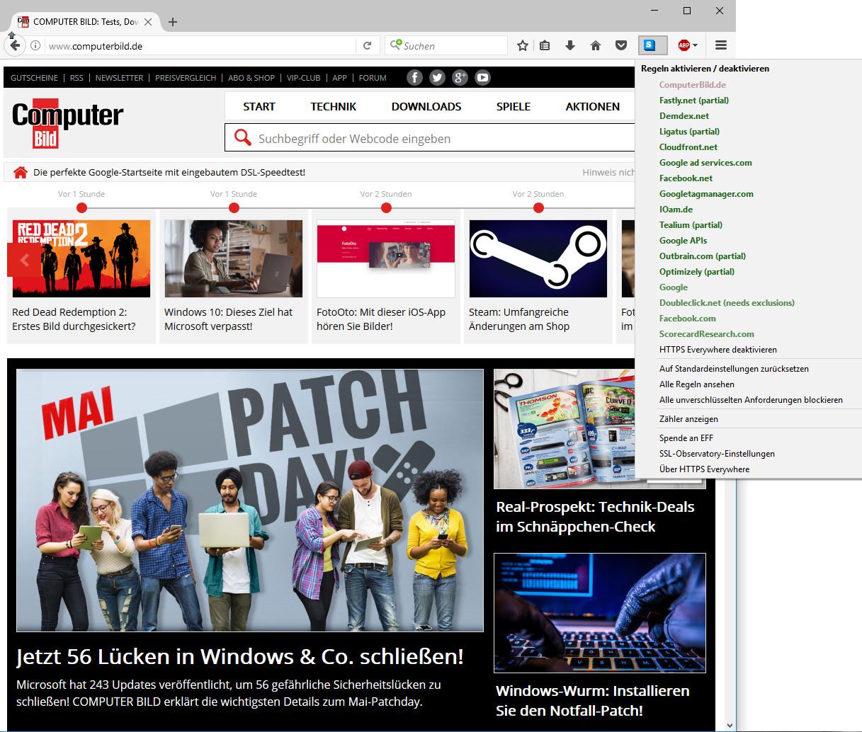 Screenshot 1 - HTTPS Everywhere für Firefox