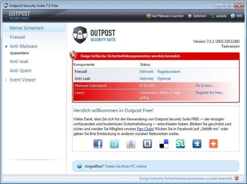 Screenshot 1 - Outpost Security Suite Free (64 Bit)