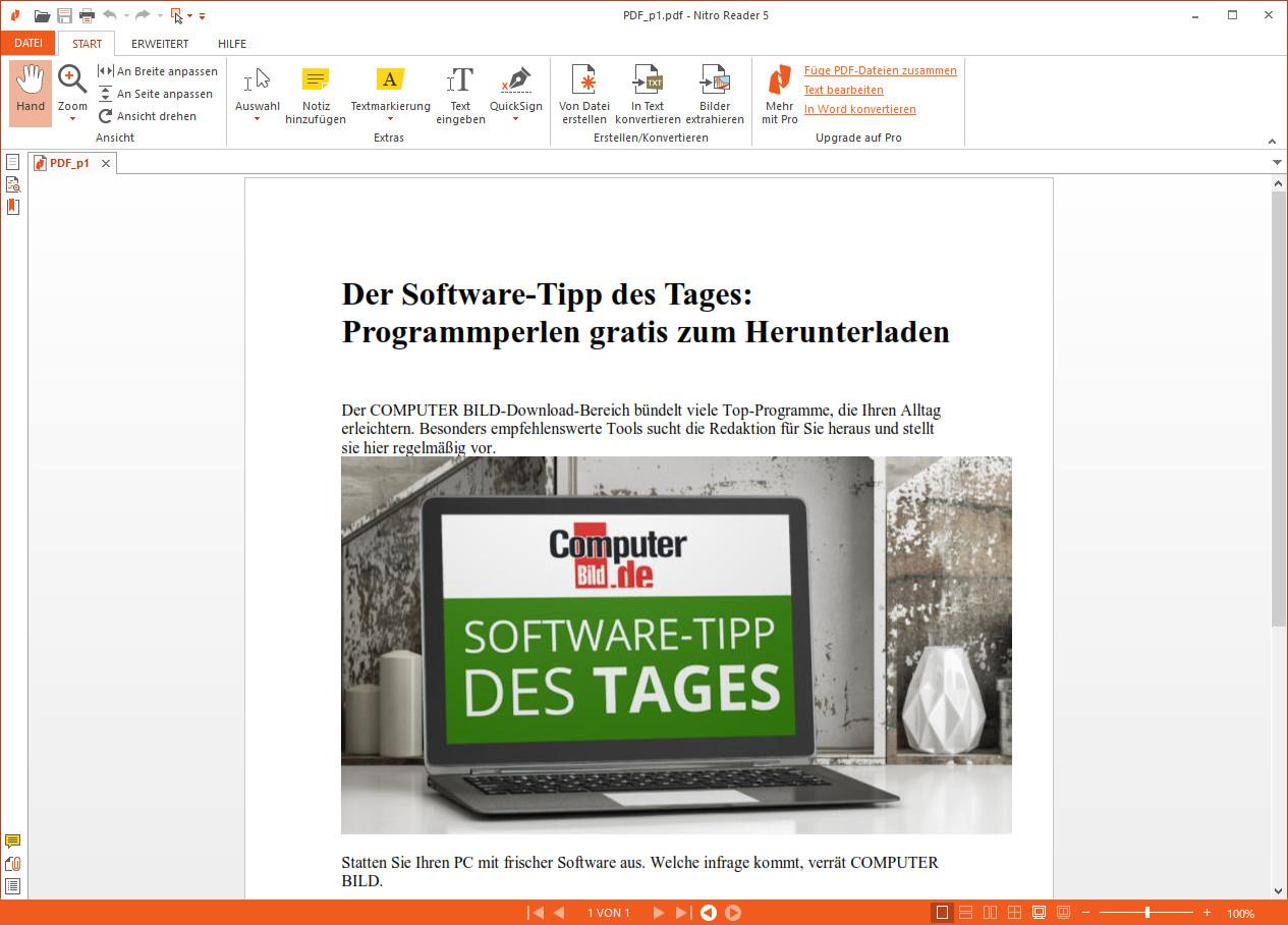 Screenshot 1 - Nitro PDF Reader (64 Bit)