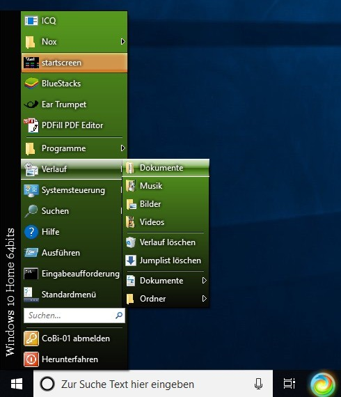 Screenshot 1 - Classic Windows Start Menu (64 Bit)