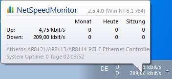 Screenshot 1 - NetSpeedMonitor (64 Bit)