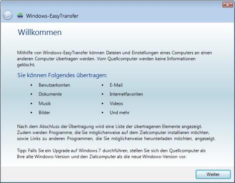 Screenshot 1 - Windows-EasyTransfer (Vista nach Windows 7, 64 Bit)