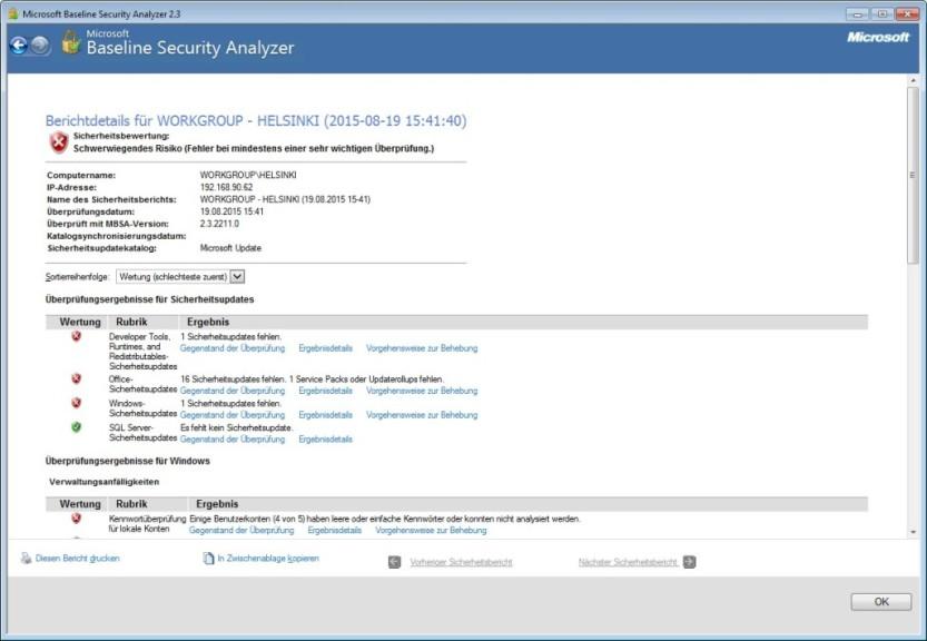 Screenshot 1 - Microsoft Baseline Security Analyzer (64 Bit)