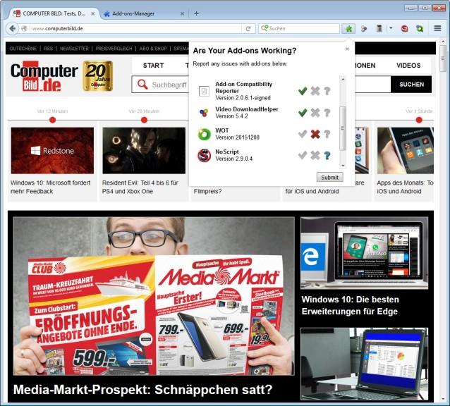 Screenshot 1 - Add-on Compatibility Reporter für Firefox