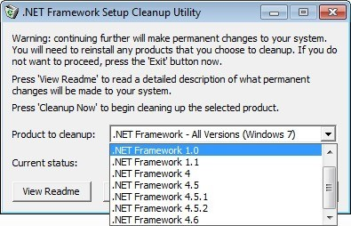 Screenshot 1 - Microsoft .NET Framework Cleanup Tool