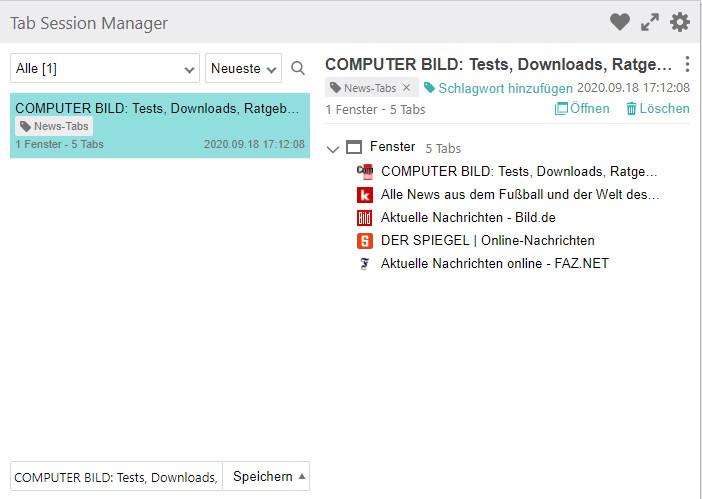 Screenshot 1 - Tab Session Manager für Chrome