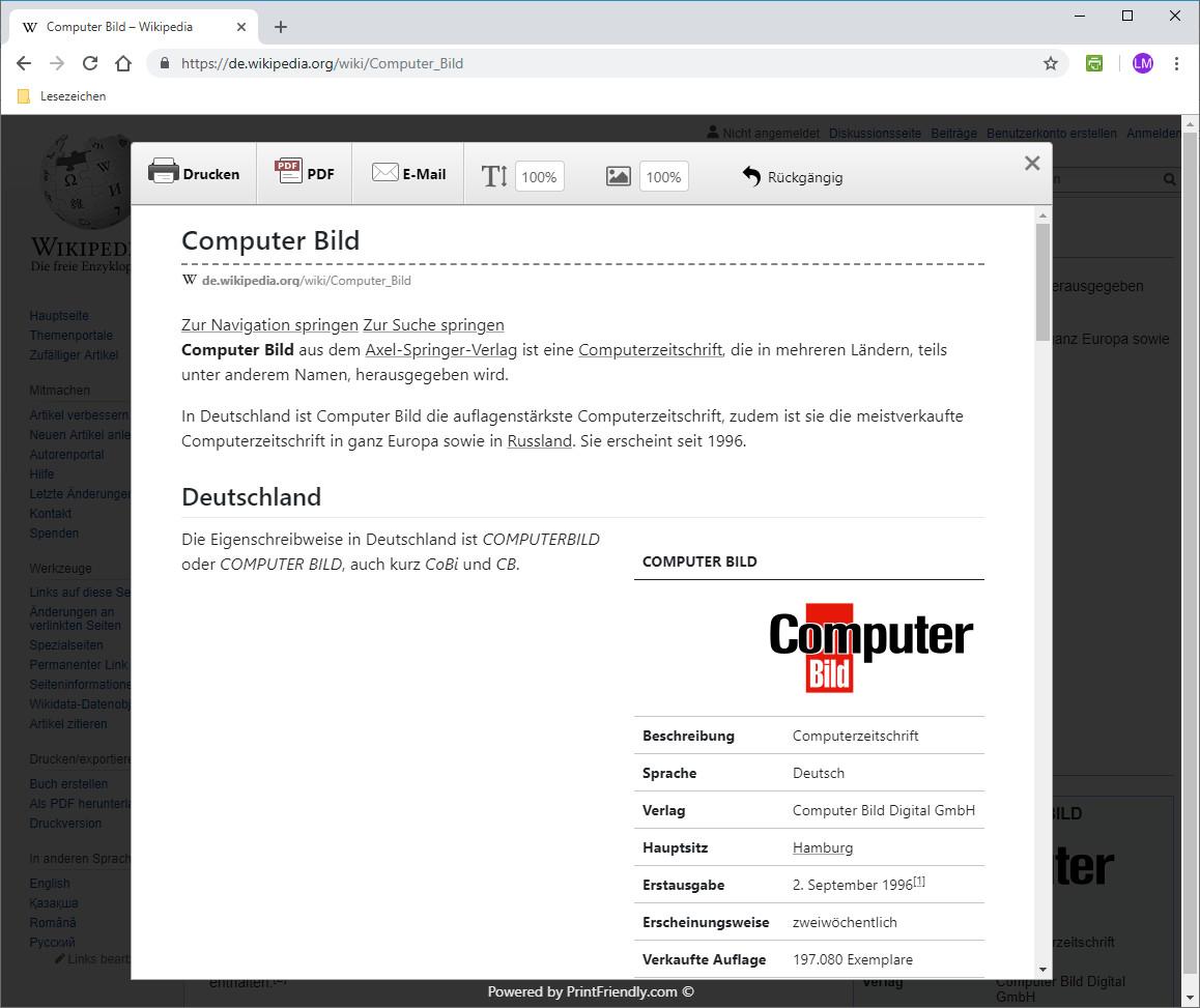 Screenshot 1 - Print Friendly & PDF für Chrome