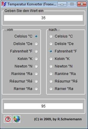 Screenshot 1 - Temperatur Konverter