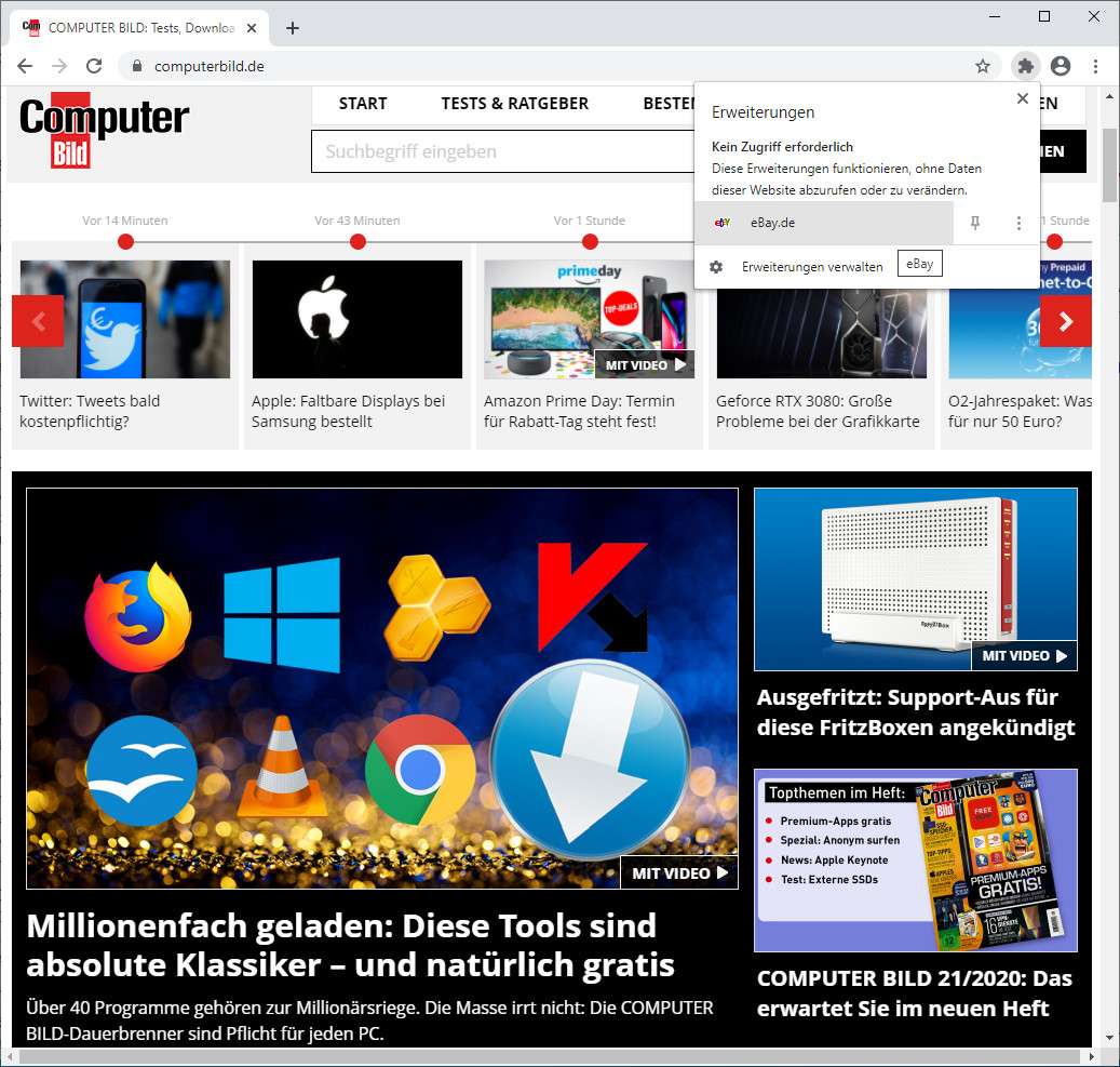 Screenshot 1 - eBay für Chrome
