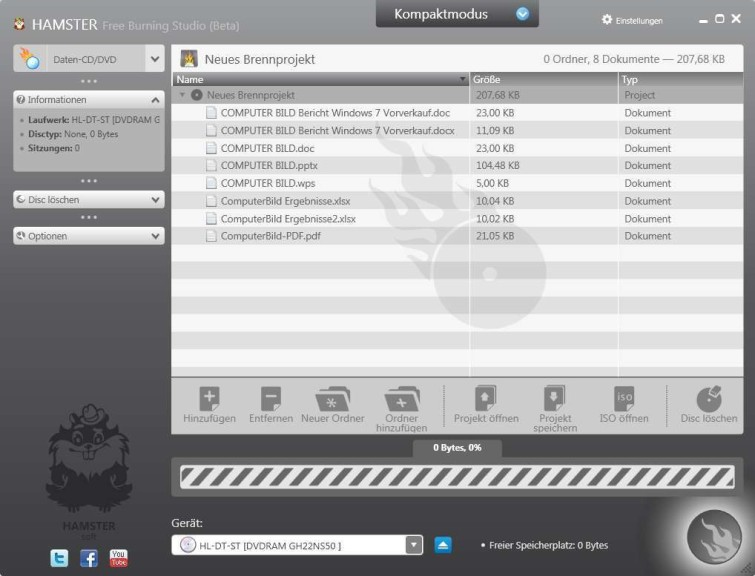 Screenshot 1 - Hamster Free Burning Studio