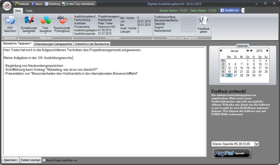 Screenshot 1 - Digitaler Ausbildungsbericht.Net