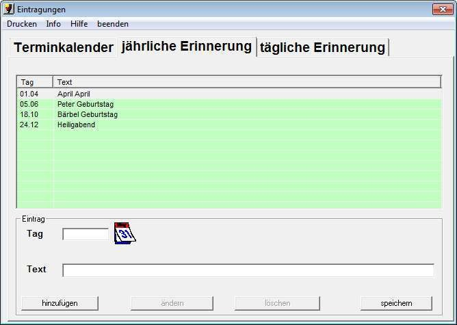 Screenshot 1 - Erinnerung