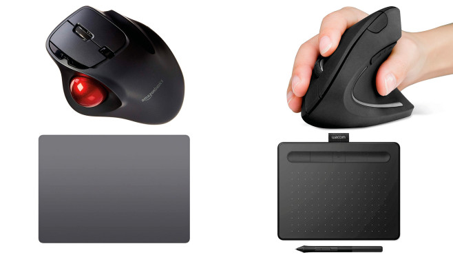 Mausalternativen in der Übersicht: Trackball, Vertikalmaus, Touchpad, Grafiktablett©Anker, Apple, Amazon Basics, Wacom
