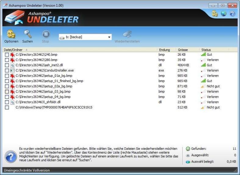 Screenshot 1 - Ashampoo Undeleter – Kostenlose Vollversion