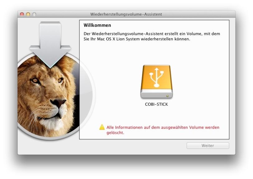 Screenshot 1 - Lion Wiederherstellungsvolume-Assistent (Mac)