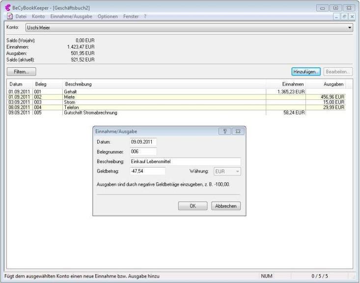 Screenshot 1 - BeCyBookKeeper