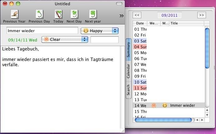 Screenshot 1 - Clover Diary (Mac)