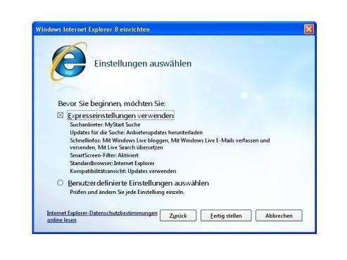 Internet Explorer 8 (Windows XP) ©COMPUTER BILD