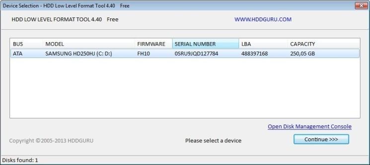 Screenshot 1 - HDD Low Level Format Tool