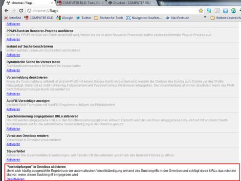 """""""Verknüpfungen"""" in Omnibox aktivieren"""