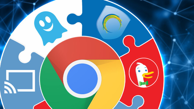 Die besten Add-ons für Google Chrome © Google, Ghostery, Zenmate, DuckDuckGo, ©istock.com/traffic_analyzer