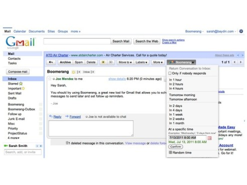 Google Mail: Screenshot Boomerang © COMPUTER BILD