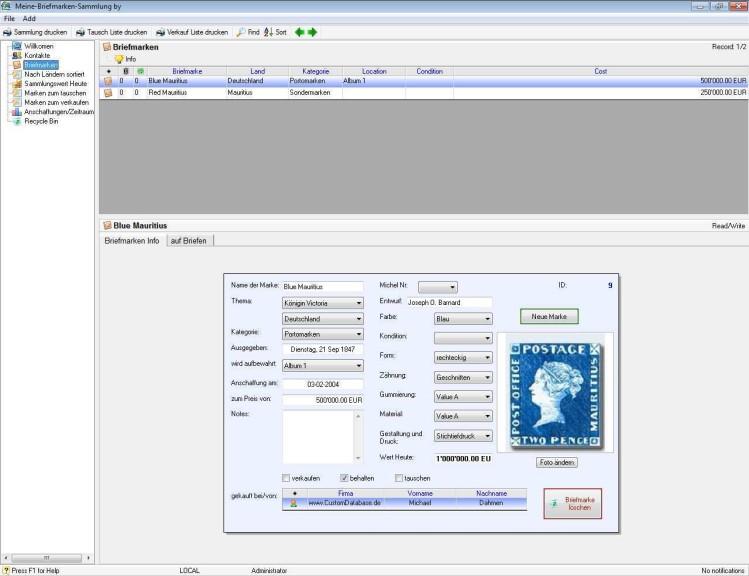 Screenshot 1 - Meine Briefmarken-Sammlung