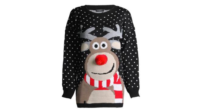 Rudolph Nasen-Pom-Pom Weihnachts-Pullover ©Amazon