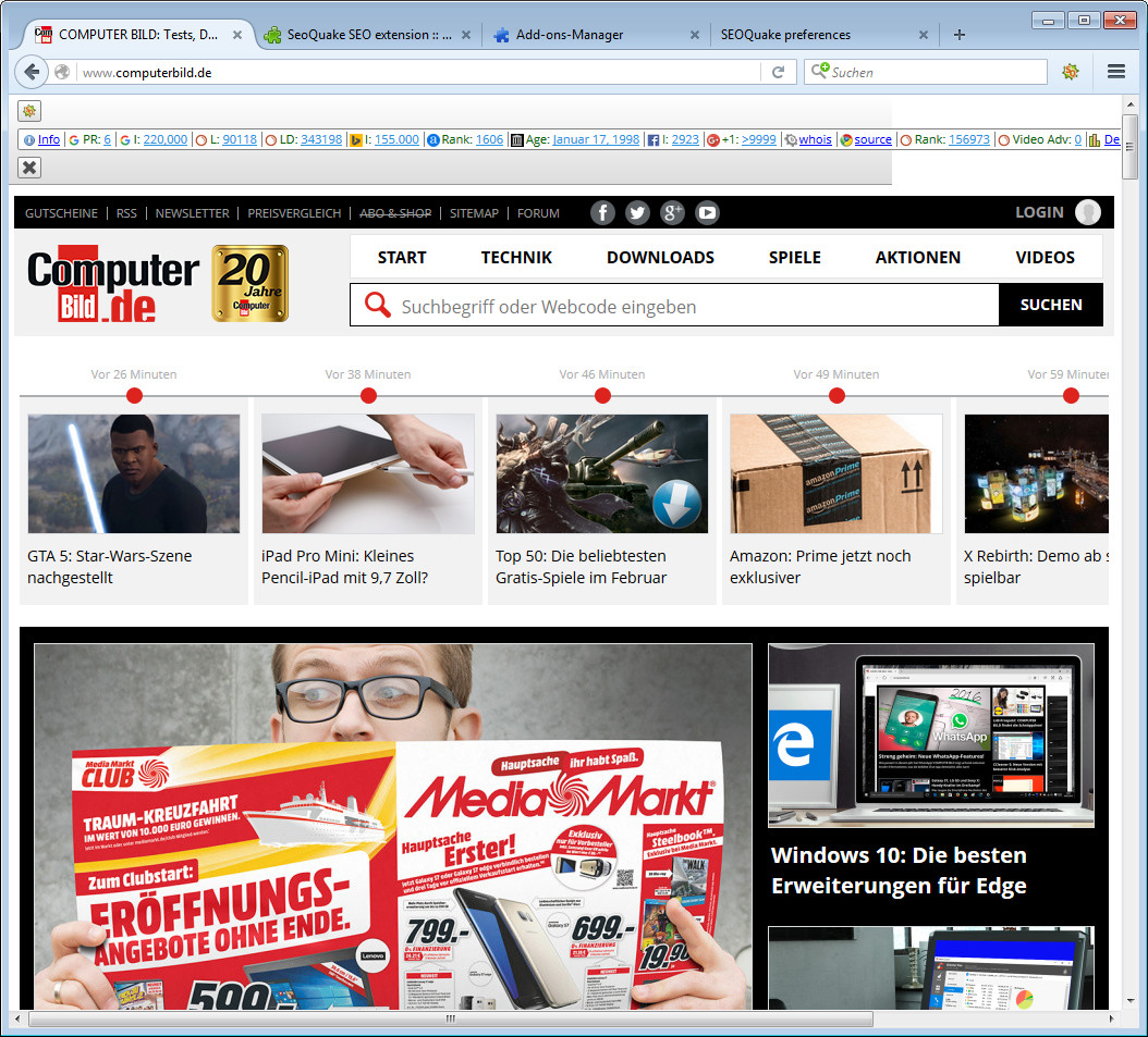 Screenshot 1 - SeoQuake für Firefox