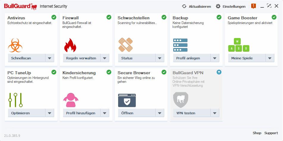 Screenshot 1 - BullGuard Internet Security 2021