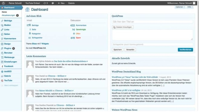Wordpress-Dashboard © COMPUTER BILD