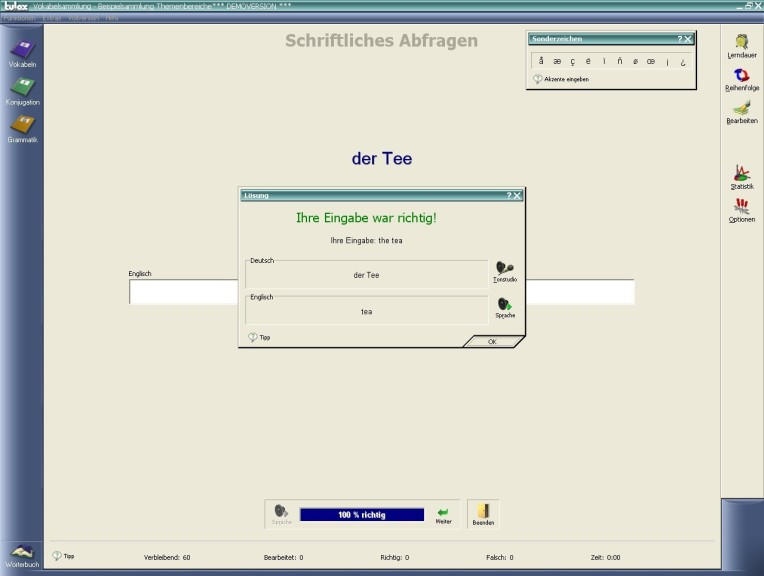 Screenshot 1 - Tulox Sprachtrainer