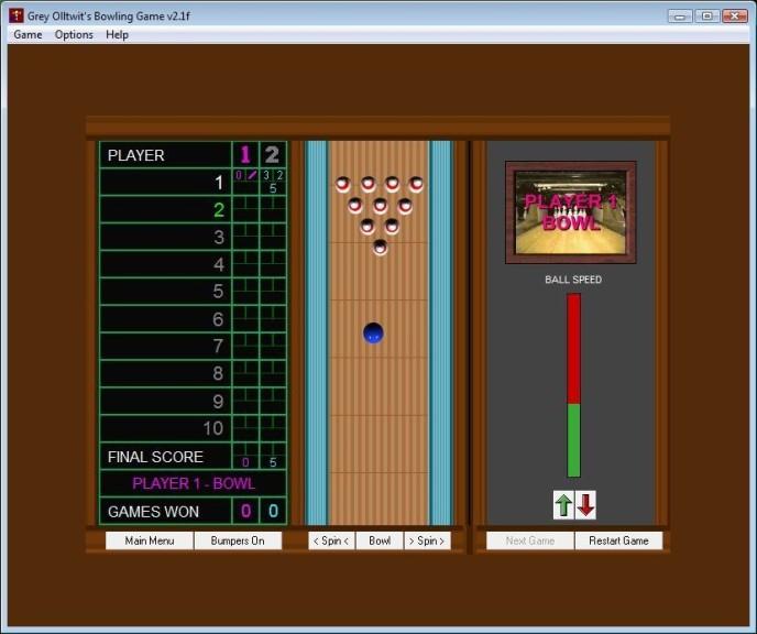 Screenshot 1 - Olltwit's Bowling Game