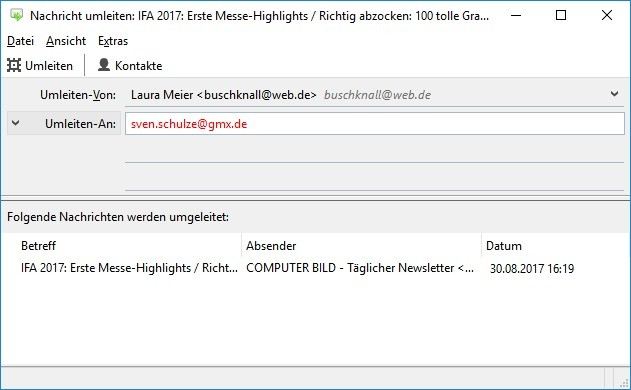 Screenshot 1 - Mail Redirect für Thunderbird