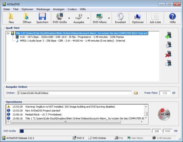 Screenshot 1 - AVStoDVD