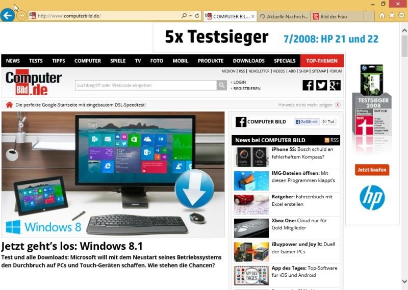 Screenshot 1 - Internet Explorer 11 (Windows 8.1, 64 Bit)