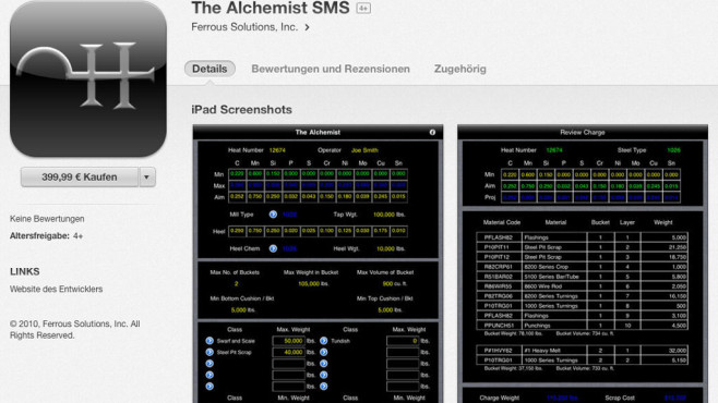 Screenshot The Alchemist SMS © COMPUTER BILD