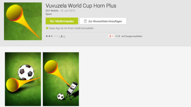 Screenshot Vuvuzela World Cup Horn Plus © COMPUTER BILD