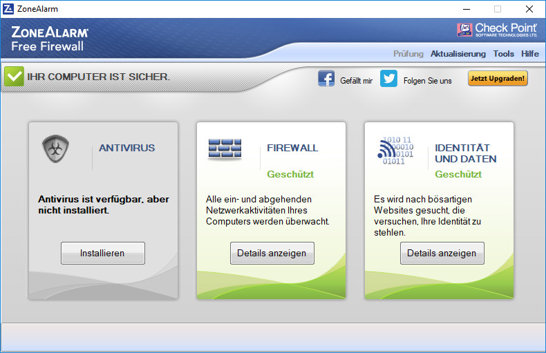 Screenshot 1 - ZoneAlarm Free Firewall