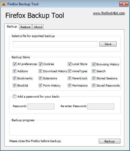 Screenshot 1 - Firefox Backup Tool