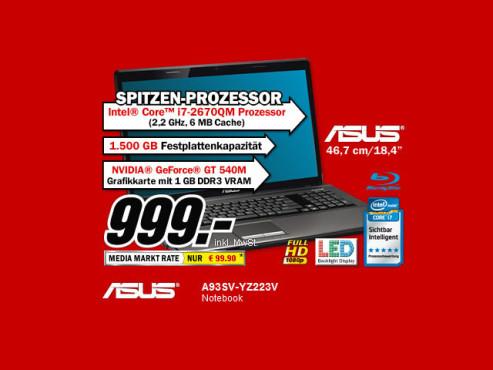Asus A93SV-YZ223V ©Media Markt